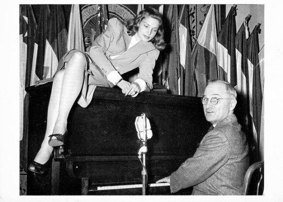harry truman lauren bacall music piano postcard 1945 washington dc