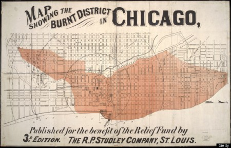 Map (published by the R.P. Studley Company) of the area of Chicago burned during the Great Chicago Fire, Chicago, Illinois, early 1870s. (Photo by Chicago History Museum/Getty Images)