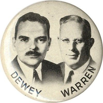 Jugate-1948-Thomas-DEWEY-Earl-WARREN-Campaign-Button