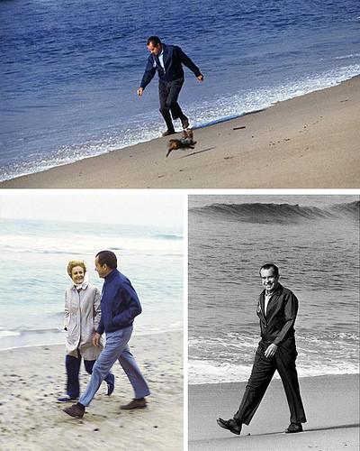 Nixon at the beach.