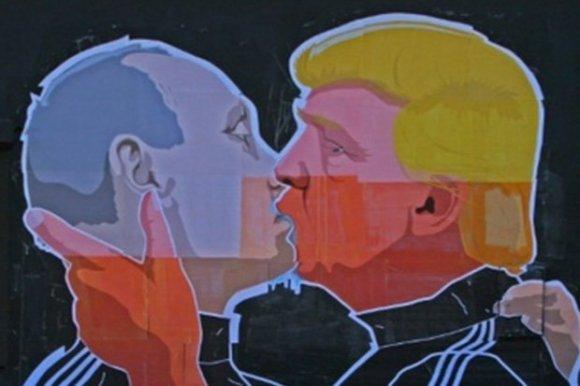 Putin-Trump mural.